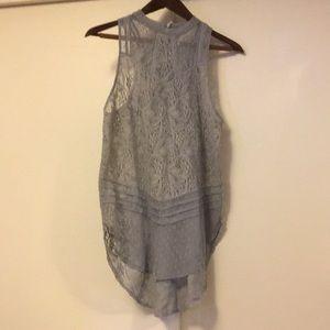 Free People gray lace tunic sleeveless blouse s